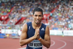 Wayde van Niekerk after winning the 300m at the Golden Spike meeting in Ostrava (AFP / Getty Images)