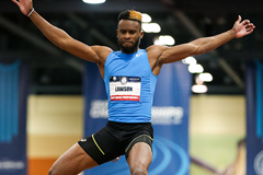 Jarrion Lawson in the long jump at the US Indoor Championships in Albuquerque (Victah Sailer)