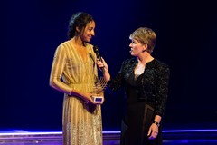 Nafissatou Thiam receives the IAAF Rising Star of the Year award at the IAAF Athletics Awards 2016 (Philippe Fitte / IAAF)