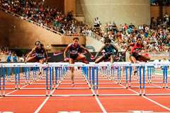 Sharika Nelvis on her way to winning the 100m hurdles at the IAAF Diamond League meeting in Monaco (Philippe Fitte)