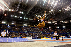 Katarina Johnson-Thompson in action at the Birmingham Indoor Grand Prix (Getty Images)