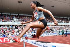 Beatrice Chepkoech en route to victory in the steeplechase at the IAAF Diamond League meeting in Birmingham (Mark Shearman)