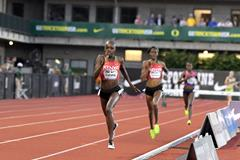 Celliphine Chespol on her way to a world U20 record in the women's 3000m steeplechase at the 2017 Eugene Diamond League. ()