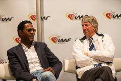 Javier Sotomayor and Dick Fosbury speak to the press in Monaco (Philippe Fitte / IAAF)