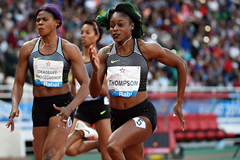 Elaine Thompson en route to victory at the IAAF Diamond League meeting in Rabat (Kirby Lee)