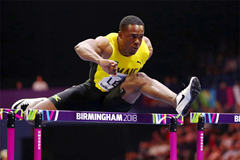 Jamaican sprint hurdler Ronald Levy at the IAAF World Indoor Championships Birmingham 2018 (Getty Images)