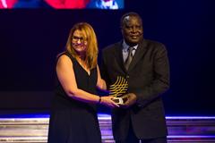 Polyxeni Argeitaki receives the Women in Athletics award at the IAAF Athletics Awards 2016 (Philippe Fitte / IAAF)