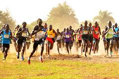 Eventual winner Joshua Cheptegei (second from left, 442) in the senior men's race at the Ugandan Cross Country Championships (Organisers)