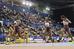 Asha Philip wins the 60m at the British Indoor Championships in Birmingham (Getty Images)