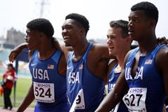 The US quartet of Brian Herron, Josephus Lyles, Zachary Shinnick and Sean Hooper after their 4x400m world U20 record at the Pan-American Junior Championships in Lima (Talia Vargas/organisers)