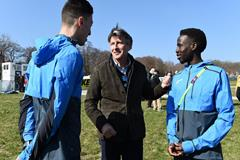 Athlete refugees Otmane Nait-Hammou and Jamal Abdelmaji Eisa Mohammed in Aarhus with IAAF President Sebastian Coe (Jiro Mochizuki)