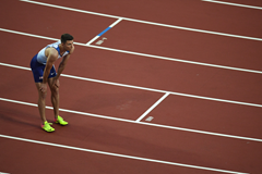 Andrew Pozzi looks on after the 110m hurdles semi finals in London (Getty Images)
