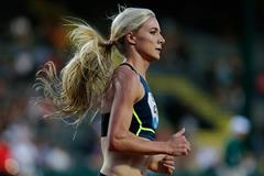 Emma Coburn in the steeplechase at the IAAF Diamond League meeting in Eugene (Getty Images)