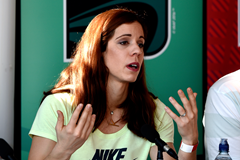 Katerina Stefanidi at the press conference for the launch of the IAAF World Indoor Championships Birmingham 2018 biomechanics reports (Mark Shearman)