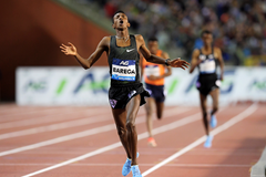 Selemon Barega wins the 5000m at the IAAF Diamond League final in Brussels (Gladys Chai von der Laage)