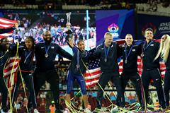 The US team celebrates their victory at the Athletics World Cup in London (Getty Images)