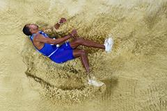 Christian Taylor competes in the triple jump at the IAAF World Championships in London (Getty Images)