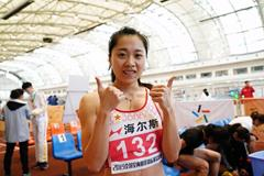 China's Ge Manqi after winning the 60m at the National Indoor Grand Prix Final in Hangzhou (Tony Dou)