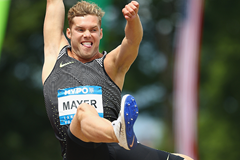 Kevin Mayer of France in the decathlon long jump (Getty Images)
