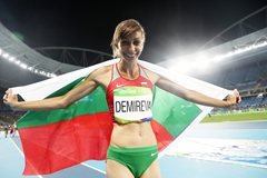 Mirela Demireva celebrates after winning Olympic high jump silver in Rio (Getty Images)