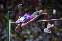 Mutaz Essa Barshim at the 2015 IAAF Diamond League meeting in Eugene (Kirby Lee)