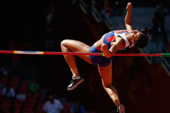 Morgan Lake competes in the high jump at the Beijing World Championships ()