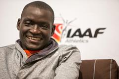 Dennis Kimetto speaks to the press in Monaco (Philippe Fitte / IAAF)