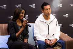 Candace Hill and Hakim Sani Brown speak to the press ahead of the IAAF Athletics Awards 2016 (Philippe Fitte / IAAF)