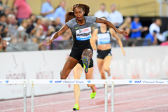 Dalilah Muhammad in the 400m hurdles at the IAAF Diamond League meeting in Lausanne (Gladys Chai von der Laage)