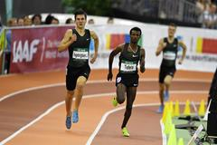 Jakob Ingebrigtsen on his way to winning the 1500m at the IAAF World Indoor Tour meeting in Dusseldorf (Gladys Chai von der Laage)