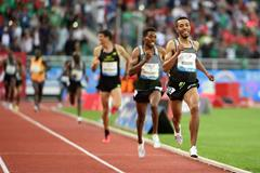 Abdalaati Iguider takes the 3000m at the IAAF Diamond League meeting in Rabat (Kirby Lee)
