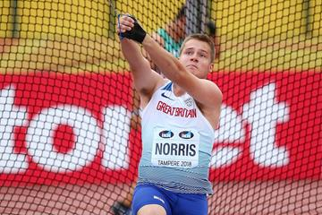 Jake Norris of Great Britain spins to hammer gold at the IAAF World U20 Championships Tampere 2018 (Getty Images)