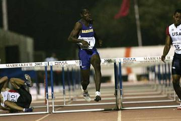 Ryan Brathwaite of Barbados in action during the 110m Hurdles final at the World Youth Championships (Getty Images)