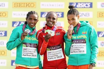 Senior women's medallists Dera Dida, Hellen Obiri and Letesenbet Gidey at the IAAF/Mikkeller World Cross Country Championships Aarhus 2019 (Getty Images)