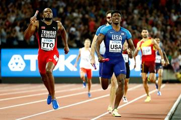 The end of the men's 4x400m at the IAAF World Championships London 2017 (Getty Images)