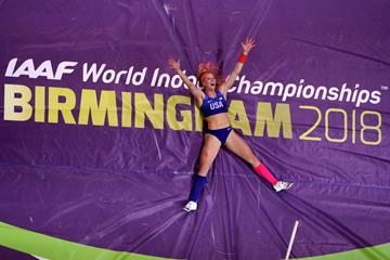 Sandi Morris celebrates gold at the IAAF World Indoor Championships Birmingham 2018 (Getty Images)