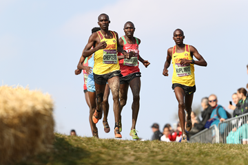 Joshua Cheptegei and Jacob Kiplimo lead the senior men's race at the IAAF/Mikkeller World Cross Country Championships Aarhus 2019 (Getty Images)