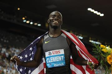 Kerron Clement after winning the 400m hurdles at the IAAF Diamond League meeting in Zurich (Jean-Pierre Durand)