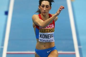 Ekaterina Koneva in the triple jump at the 2014 IAAF World Indoor Championships in Sopot (Getty Images)