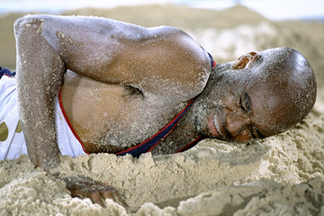 Mike Powell in the long jump pit at the 1996 Olympic Games in Atlanta (Getty Images)