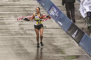 Desiree Linden after winning the Boston Marathon (Justin Britton)