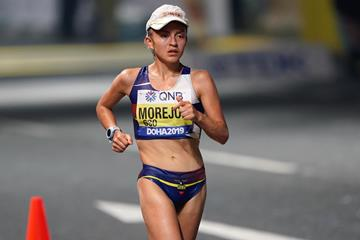 Glenda Morejon in the 20km race walk at the World Athletics Championships Doha 2019 (Matt Quine)
