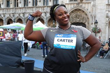 Michelle Carter at the 2016 IAAF Diamond League final in Brussels (Giancarlo Colombo)