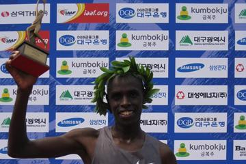 Abraham Kiprotich after winning the 2013 Daegu International Marathon (Robert Wagner / organisers)