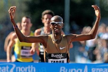 Mo Farah winning the 2 Miles at the Great North City Games (Mark Shearman )