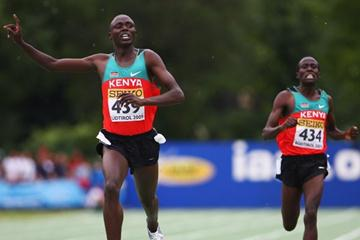 Isiah Kiplangat Koech and David Kiprotich Bett both of Kenya celebrate winning gold and silver in the Boys' 3000m final (Getty Images)
