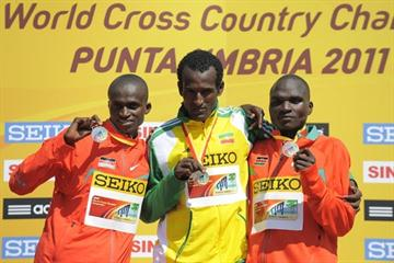 The senior men's podium in Punta Umbria: Paul Kipngetich Tanui (KEN), Imana Marga (ETH) and Vincent Kiprop Chepkok (KEN) (Getty Images)
