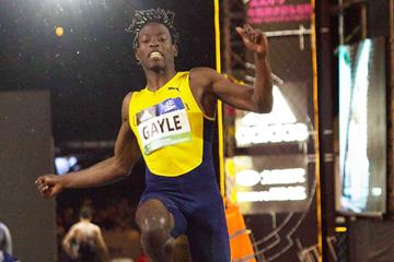 Tajay Gayle sails to a long jump win in Nanjing (Bob Ramsak)