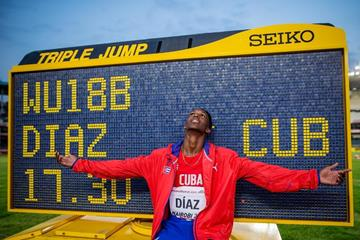 Jordan Diaz after setting a world U18 best in the triple jump at the IAAF World U18 Championships Nairobi 2017 (Getty Images)