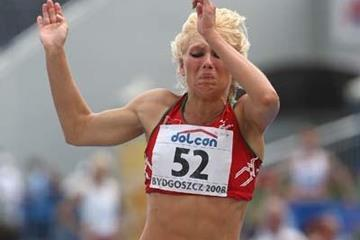 Yana Maksimava of Belarus participates in the Women's Heptathlon Long Jump (Getty Images)